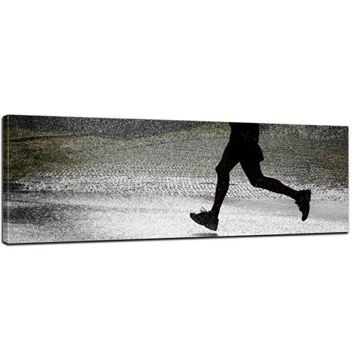 Wandbild - Running Retro - Bild auf Leinwand - 90x30 cm - Leinwandbilder - Urban & Graphic - Sport - Einsamkeit - Joggen im Regen -