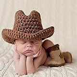 TININNA bebé recién nacido niño niña fotografía Prop Lovely Crochet de Punto Sombrero Vaquero Botas Juego marrón marrón