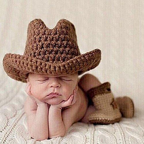 Baby Mädchen Mädchen Stütze Reizend Häkeln Gestrickte Cowboy Hut Stiefel Set EINWEG Verpackung ()