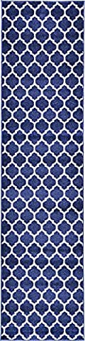 Modern Geometric 2-Feet by 10-Feet (2' x 10') Runner Trellis Dark Blue Contemporary Area Rug
