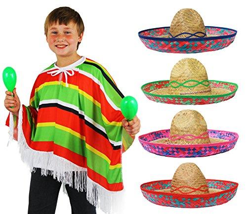 Kostüm Tabasco (KINDER MEXIKO SET= MEXIKANER KOSTÜM = PONCHO MIT SOMBRERO SET FÜR -KINDER ODER ERWACHSEN = PONCHO MIT FRANSEN = VON ILOVEFANCYDRESS®= SOMBREO IN VERSCHIEDENEN AUSFÜHRUNGEN UND FARBEN ERHALTBAR =DAS PERFEKTE)