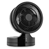 Black: Klarstein Touchstream WH Floor Stand Fan (45W, 17cm Rotor, Two-Stage Leanable Fan, 3 Different Speeds) Black