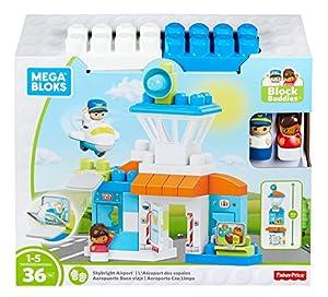 Mega Bloks- Cars 2 Megabloks Construcción Aeropuerto con 36 Piezas, Color Blanco/Azul (Mattel DPJ56)