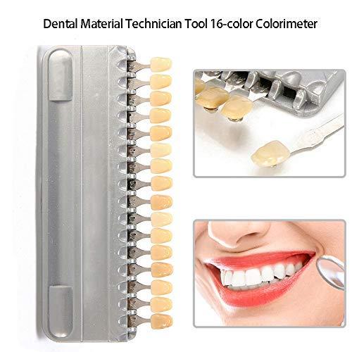 Delisouls 16-Color Zahn Colorimetric Platte, Solide Porzellan Vita Zahn Zahn Shadow Guide Board Werkzeug -