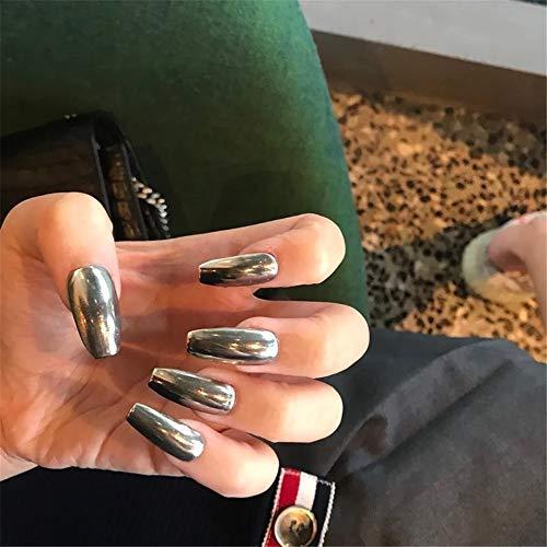 24 Gefälschte Nagelaufkleber - Gefälschte Nagelaufkleber - Einfarbige Nägel - Chinesische Schriftzeichen Gefälschte Nägel - Metallpunk-Stil (5)