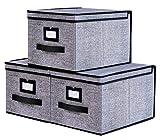 homyfort 3 Stück faltbox mit Deckel Faltbare Aufbewahrungsbox Stoffbox, 30 x 40 x 25 cm, Schwarz Leinen, 7XALB03PLP