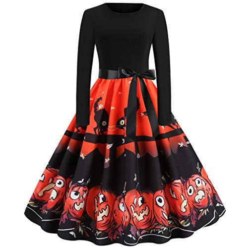 GOKOMO Halloween Damen Rockabilly Kleid Elegante Kleider Lange Frauen Sommer Festliche Damenkleider Knielang - Vintage Bodycon äRmellose Abend Party Prom Swing Dress(Orange-g,X-Large) (Beanie 2019 Halloween Boos)
