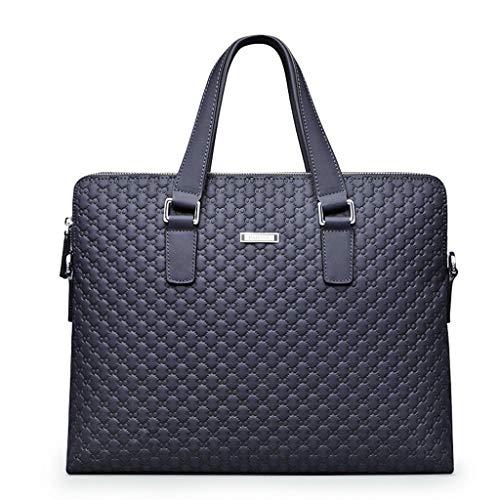Xuping shop Herren Aktentasche aus Leder 14 Zoll Business Laptop Handtasche Blue Plaid Handtasche Hohe Qualität -