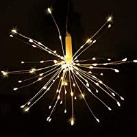 BSRYO Firework Light, 180 LED DIY Starburst Light 8 Modes Dimmable Battery Operated Hanging Fairy Lights, Remote Control Bouquet Shape Copper String Lights (White)