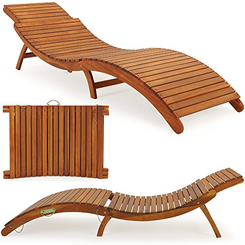 Deuba Sonnenliege | Akazien Holz | Faltbar | Kofferfunktion | Kurvig | Ergonomisch | Gartenliege...
