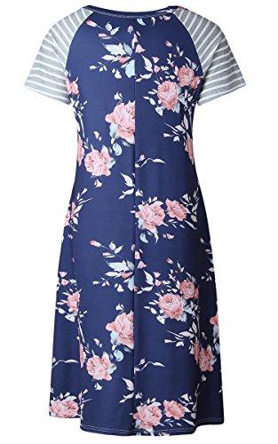 Ecowish Damen Blumen Kleid Gestreiftes Rundhals Sommerkleid Tunika