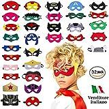 Take Inspire | Kit 32 Pezzi Maschere Supereroi | Nuova Edizione | Bambini e Adulti | Feste in Maschera Cosplay | Regalini Fine Festa Compleanno
