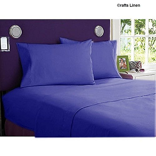 Crafts Linen Egyptian Cotton 400-thread-count Sateen King singolo, 4pezzi Set (+ 18cm) Pocket Depth, egiziano blu scuro
