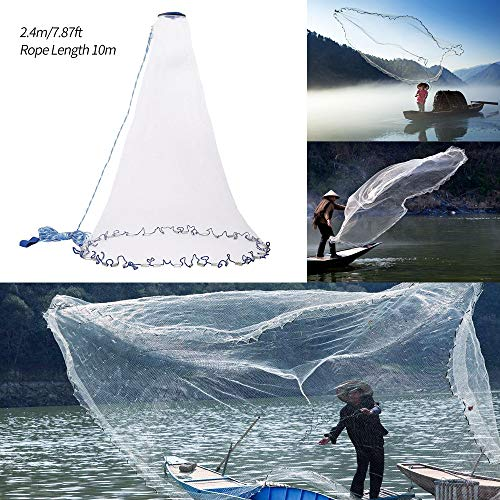 Roblue Angeln Netz Wurfnetz Angelnetz Nylon Gaze Netz Handschlaufe und Ring Cast Fischernetz FUSH Capture 10/15m -