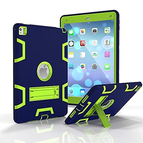 Pupsand iPad Air Étui pour enfants, Coque étui dure protection antichoc résistante robuste pour enfants avec poignée intégrée, support et protecteur libérant l'écran pour Apple iPad Air (bleu&jaune iPad mini1/2/3)