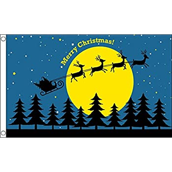 Flag 150cm x 90cm Santas Sleigh Merry Christmas Blue Celebration 5ft x 3ft