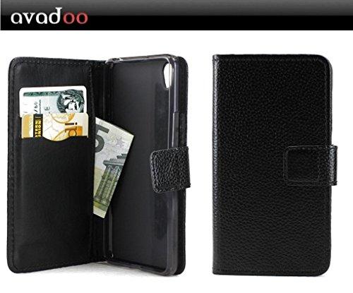 avadoo® OnePlus X Flip Case Cover Tasche Schwarz mit Magnetverschluss und Dualnaht als Cover Tasche Hülle