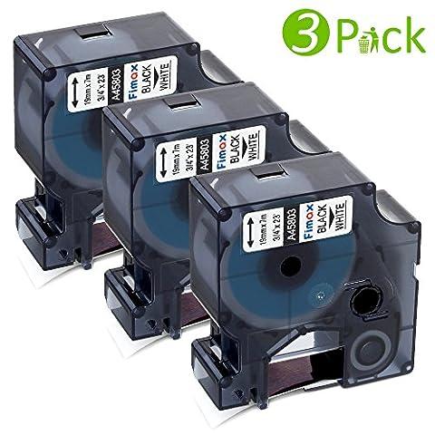 Fimax 3 Pack Ersetzen Dymo Standard D1-Etiketten/Schriftbänder 45803 Kompatible für Den Drucker LabelManager, LabelPoint, LabelWriter/ Schwarz auf Weiß, 19mm x 7m