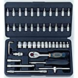 Generic Force 2462 1/4 Inch Socket Combination Set Diy Repair Tool Kit (46-Pieces)