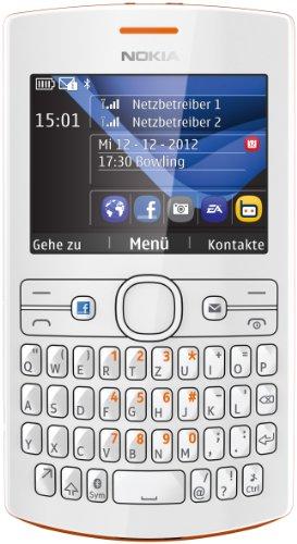 Nokia Asha 205 Dual-SIM Smartphone (6,1 cm (2,4 Zoll) Display, QWERTZ-Tastatur, 0,3 Megapixel Kamera) orange/weiß