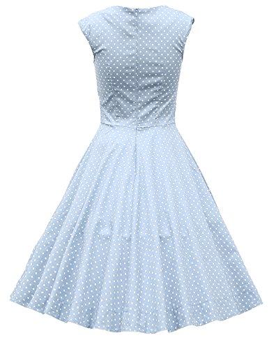 MUXXN Damen Retro 1950er Kleider Swing Kleid Vintage Rockabilly Kleid Partykleid Cocktailkleid Light Blue Dot