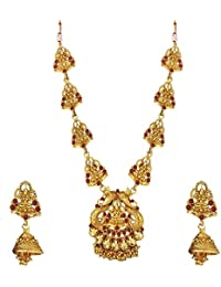 Om Jewells Traditional Temple Jewellery Necklace Set/Jewellery Set Of Goddess Laxmi With Earrings For Women NL1000553