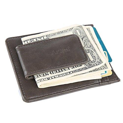 Artmi Mens Geld Clip RFID blockieren magnetische Brieftasche starke dünn-Kartenhalter (Kaffee) (Magnetische Leder Portemonnaie Geld Clip)
