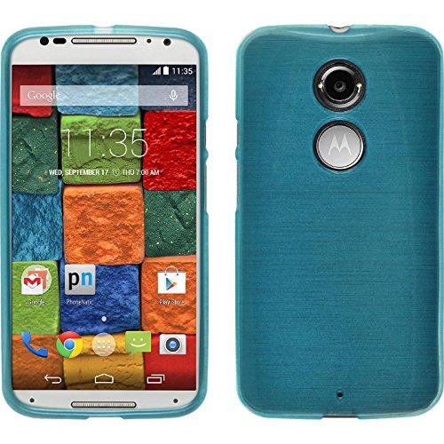 PhoneNatic Motorola Moto X 2014 2. Gen. Hülle Silikon blau Brushed Case Moto X 2014 2. Gen. Tasche + 2 Schutzfolien