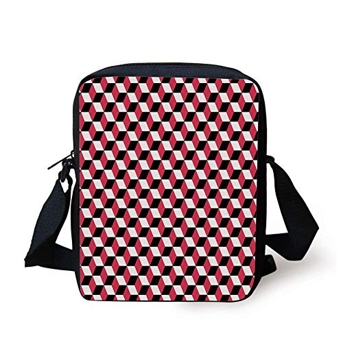 Abstract,Geometric Cube Prisms Flat Ornament Retro Minimalist Fashion Grid Pattern Decorative,White Red Black Print Kids Crossbody Messenger Bag Purse -
