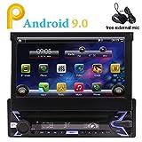 DIN singolo in precipitare Android 9.0 Pie sistema 1G + 16G Quad Core auto impianto stereo testa con la vibrazione 7 pollici fuori del monitor di GPS Touch Screen di sostegno, Bluetooth, Wi-Fi, mic