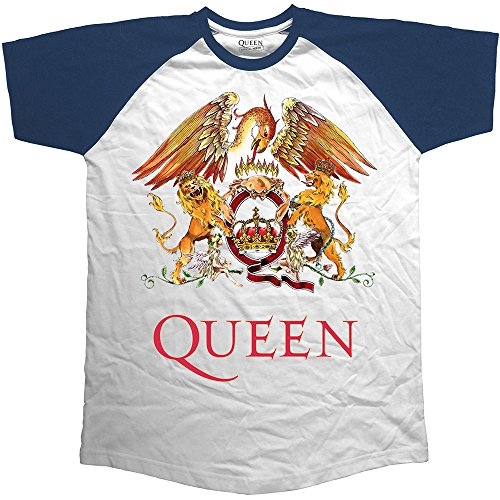 Rockoff Trade Queen Classic Crest Raglan, Camiseta para Hombre, Blanco, Medium