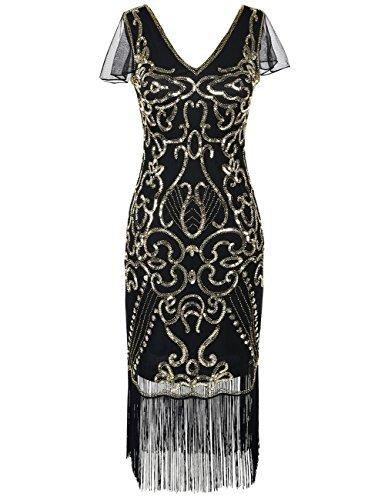 kayamiya Damen Vintage Gatsby Kleid 1920er V-Ausschnitt Inspiriert Pailletten Franse Charleston Kleid L Gold
