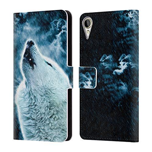 Head Case Designs Offizielle Simone Gatterwe Heulender Wolf Tiere 2 Leder Brieftaschen Huelle kompatibel mit HTC Desire 10 Lifestyle