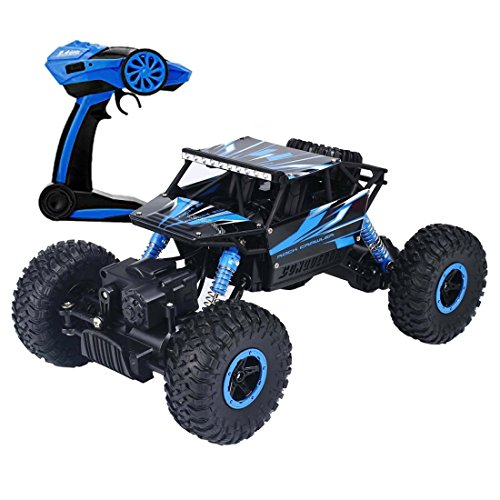 deAO RC All Terrain Car Rock Crawler 4x4 to Remote Control - 1: 18 Rock Tracker 2.4GHz Sync System Multi Player Mode (Blue)