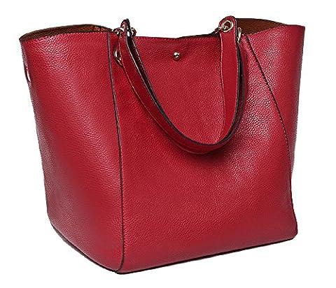 Taschen Damen Leder Rot 2017 SQLP Neu Elegant Große Handtasche Europäische stil Schultertaschen Umhängetasche Shopper Tasche Henkeltasche Beuteltasche Weich
