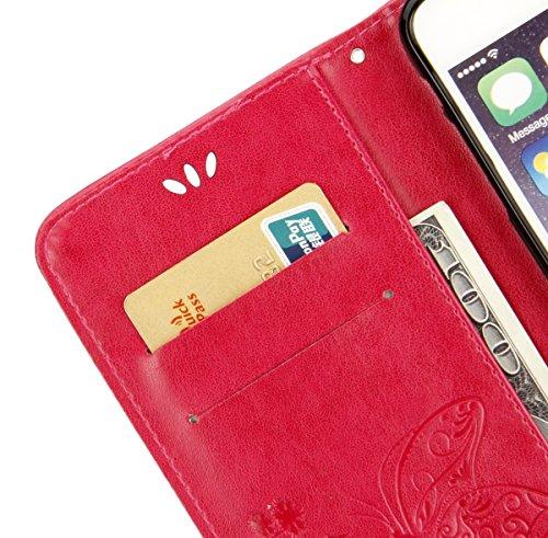 EUWLY Custodia Cover per iPhone 6/iPhone 6s (4.7), EUWLY Luxury Puro Colore Cover Case in PU Leather per [iPhone 6/iPhone 6s (4.7)] Modello Goffratura Fiore Farfalla Design Bumper Portafoglio Custod Butterfly,Rosa