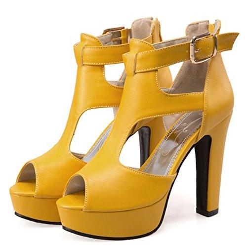 TAOFFEN Femmes Peep Toe Sandales Mode Bloc Plateforme Talons Hauts Sangle De Cheville Chaussures Jaune