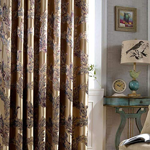 bai Luxus Blackout Vorhänge Für Wohnzimmer Pfau Feather Blinds Jacquard-Vorhänge Für Schlafzimmer Fenster Schattierung Ready Panels 1PC(200 * 270 cm)