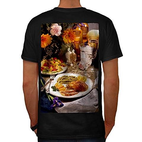 Poulet Avec vegies Café Homme NOUVEAU Noir XXL T-shirt Reverse   Wellcoda
