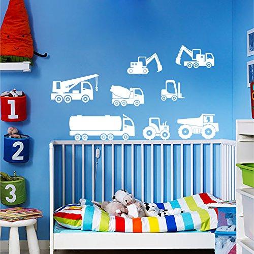 Lavoro veicoli adesivo da parete Set-camion, ruspa, Carrello, Trattore, gru, Targa in vinile, Cobalt, Large (650x550mm)