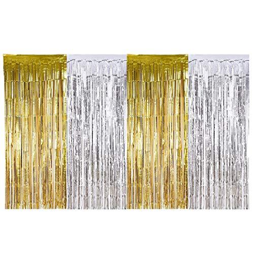 HEEFEN 4 Stücke Folie Vorhänge Silber Metallic Tinsel Vorhänge 2m Gold Fringe Vorhänge für Geburtstag Hochzeit (Fringe Gold Metallic Vorhang)