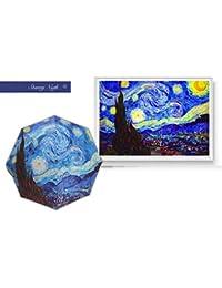 wei Paraguas de Pintura Van Gogh Sombrilla Plegable automática Sombrilla Protectora de plástico Plateada,Estrellado