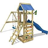 WICKEY Spielturm FreeFlyer Kletterturm mit Rutsche Schaukel Sandkasten Kletterwand Sandkasten