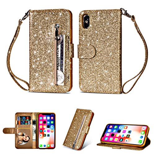 Coque iphone X, Housse en Cuir LaVibe PU Leather Etui Portefeuille à Rabat Glitter Clapet Support Fermeture éclair Porte Video Stand, Flip Wallet Protective Case Cover-Or