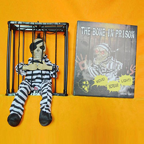 Halloween dekorative Sound Requisiten Gefängnis Hanging Ghosts Augen glühend Äußerung 28 * 23 * 10 cm , B