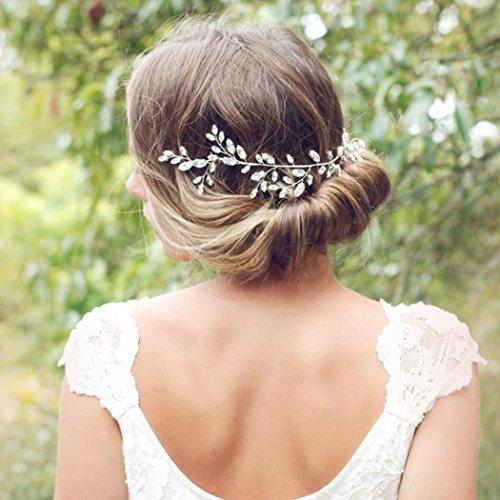 Aukmla Krone für Brautjungfern und Blumenmädchen, Hochzeit, mit Swarovskikristallen, Haarschmuck, funkelnd, Haarkranz - 6