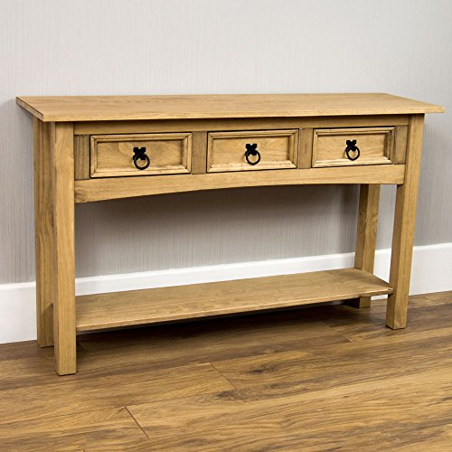 home-discount-corona-console-table-3-drawer-with-1-shelf-solid-pine-wood
