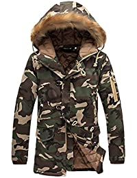 MIOIM Herren Winterjacke mit Fellkapuze Camouflage Wintermantel Jacke Mantel  Parka Oversize Gefütterte S… b3f861987c