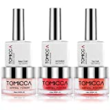 TOMICCA Dipping Powder 3 Elegante Farben + Base & Top Coat und Aktivator + Tools Geschenke (DIY Starter Kit) Acryl nagel pulver Natural Dry | Rote Serie