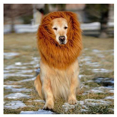 Pet Kostüm Lion Mähne Perücke für Hund Katze Halloween Tuch Festival Fancy Dress Up (L, Braun)